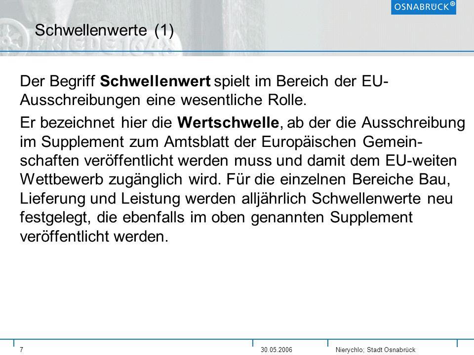 Nierychlo; Stadt Osnabrück 730.05.2006 Schwellenwerte (1) Der Begriff Schwellenwert spielt im Bereich der EU- Ausschreibungen eine wesentliche Rolle.