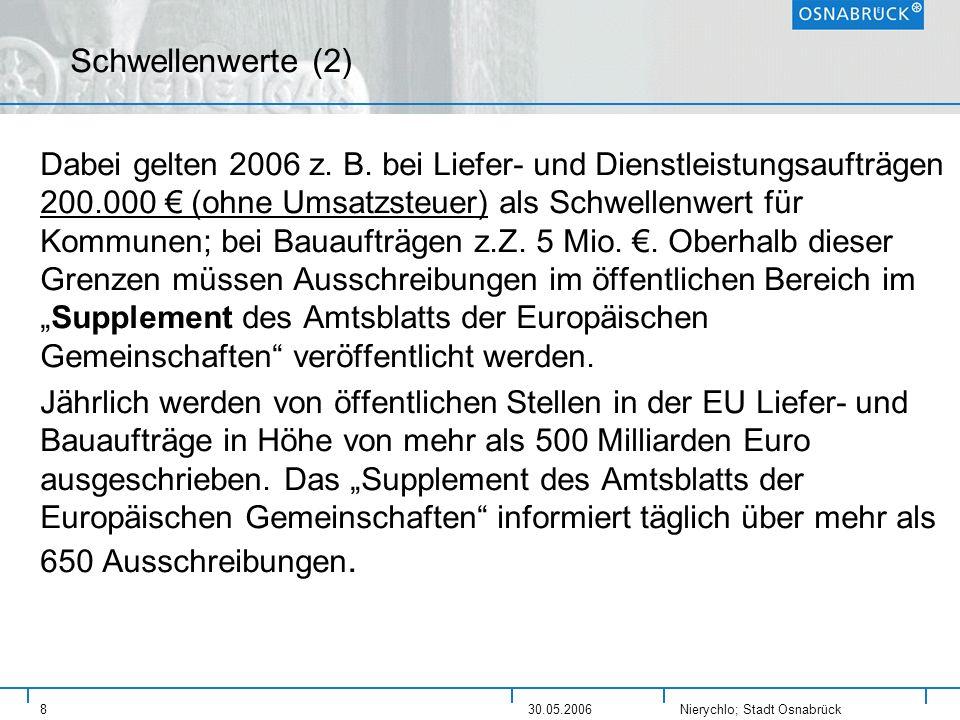 Nierychlo; Stadt Osnabrück 830.05.2006 Schwellenwerte (2) Dabei gelten 2006 z. B. bei Liefer- und Dienstleistungsaufträgen 200.000 (ohne Umsatzsteuer)