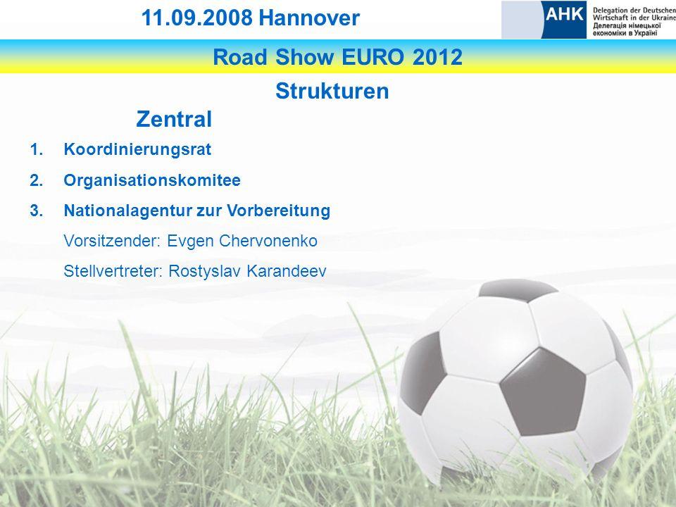 Road Show EURO 2012 11.09.2008 Hannover Strukturen Zentral 1.Koordinierungsrat 2.Organisationskomitee 3.