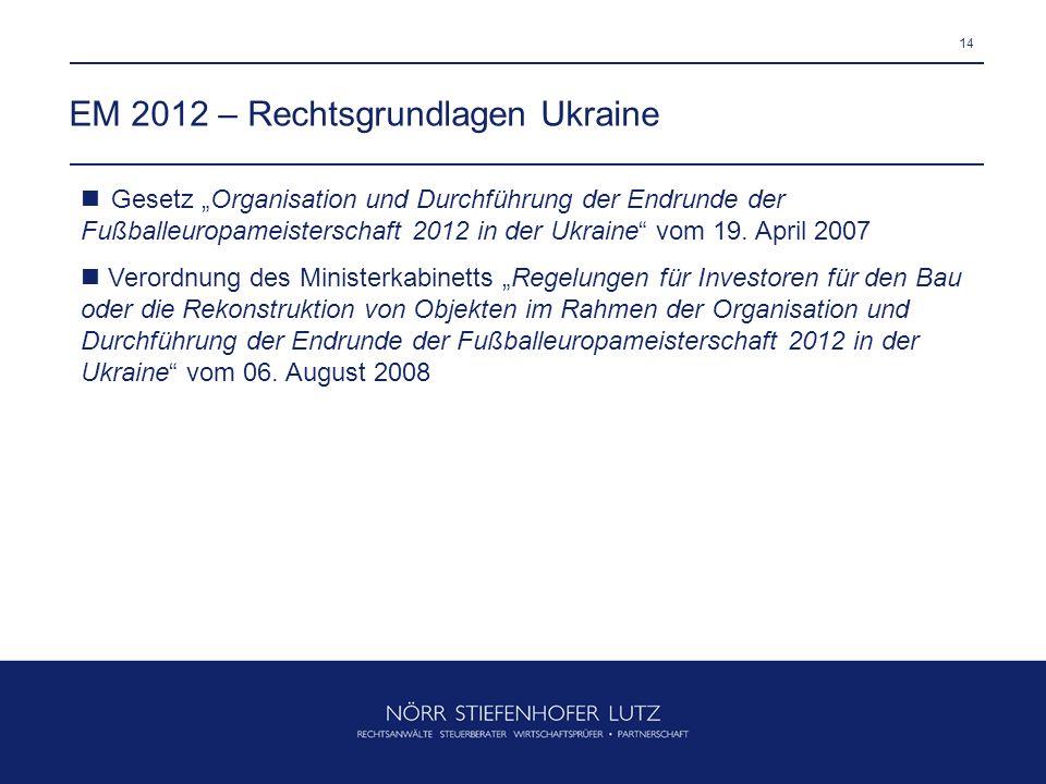 14 EM 2012 – Rechtsgrundlagen Ukraine Gesetz Organisation und Durchführung der Endrunde der Fußballeuropameisterschaft 2012 in der Ukraine vom 19. Apr