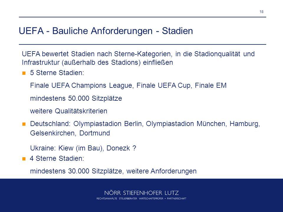 18 UEFA - Bauliche Anforderungen - Stadien UEFA bewertet Stadien nach Sterne-Kategorien, in die Stadionqualität und Infrastruktur (außerhalb des Stadi