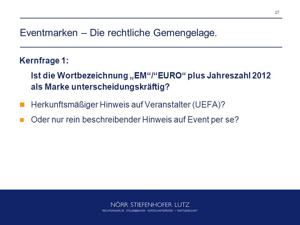 27 Eventmarken – Die rechtliche Gemengelage. Kernfrage 1: Ist die Wortbezeichnung EM/EURO plus Jahreszahl 2012 als Marke unterscheidungskräftig? Herku