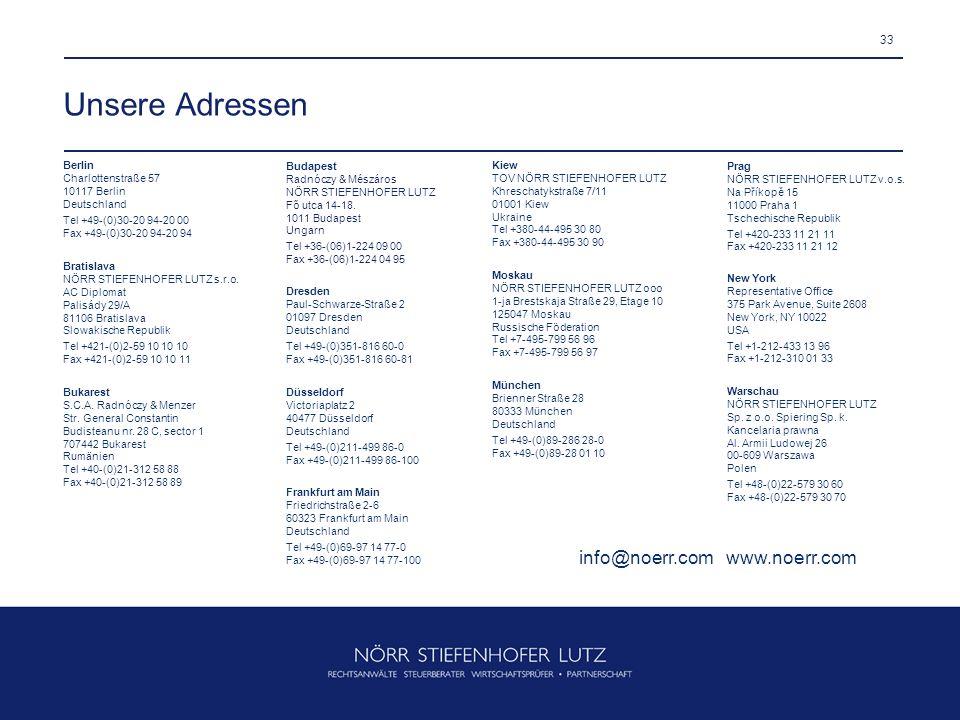 33 Unsere Adressen Düsseldorf Victoriaplatz 2 40477 Düsseldorf Deutschland Tel +49-(0)211-499 86-0 Fax +49-(0)211-499 86-100 Frankfurt am Main Friedri