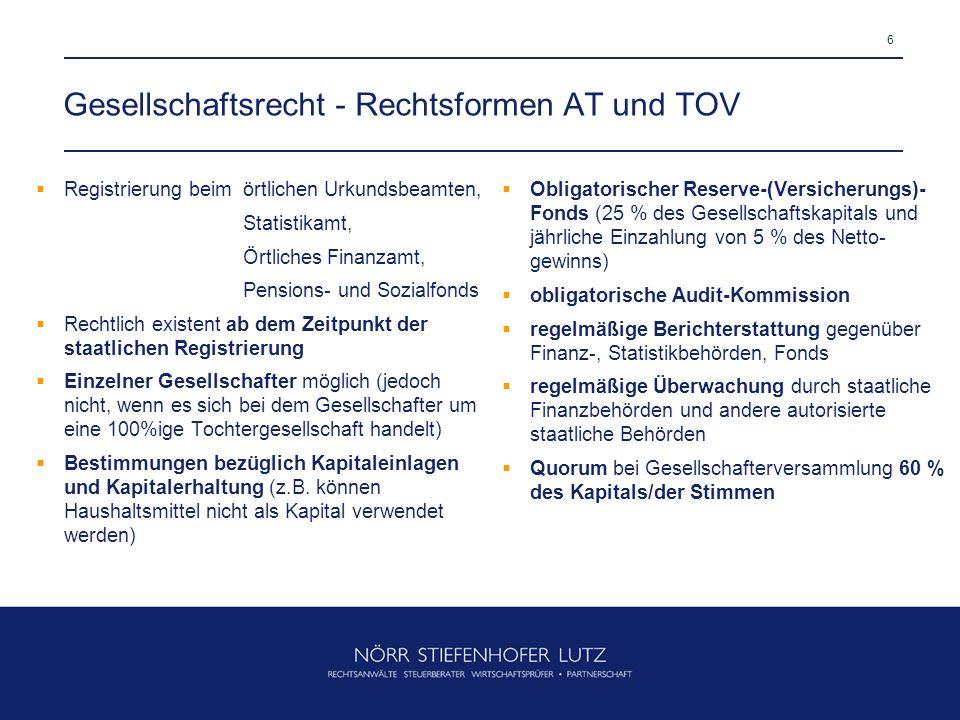6 Gesellschaftsrecht - Rechtsformen AT und TOV Registrierung beim örtlichen Urkundsbeamten, Statistikamt, Örtliches Finanzamt, Pensions- und Sozialfon