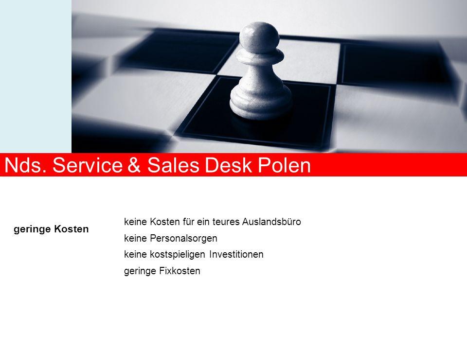 keine Kosten für ein teures Auslandsbüro keine Personalsorgen keine kostspieligen Investitionen geringe Fixkosten geringe Kosten Nds. Service & Sales