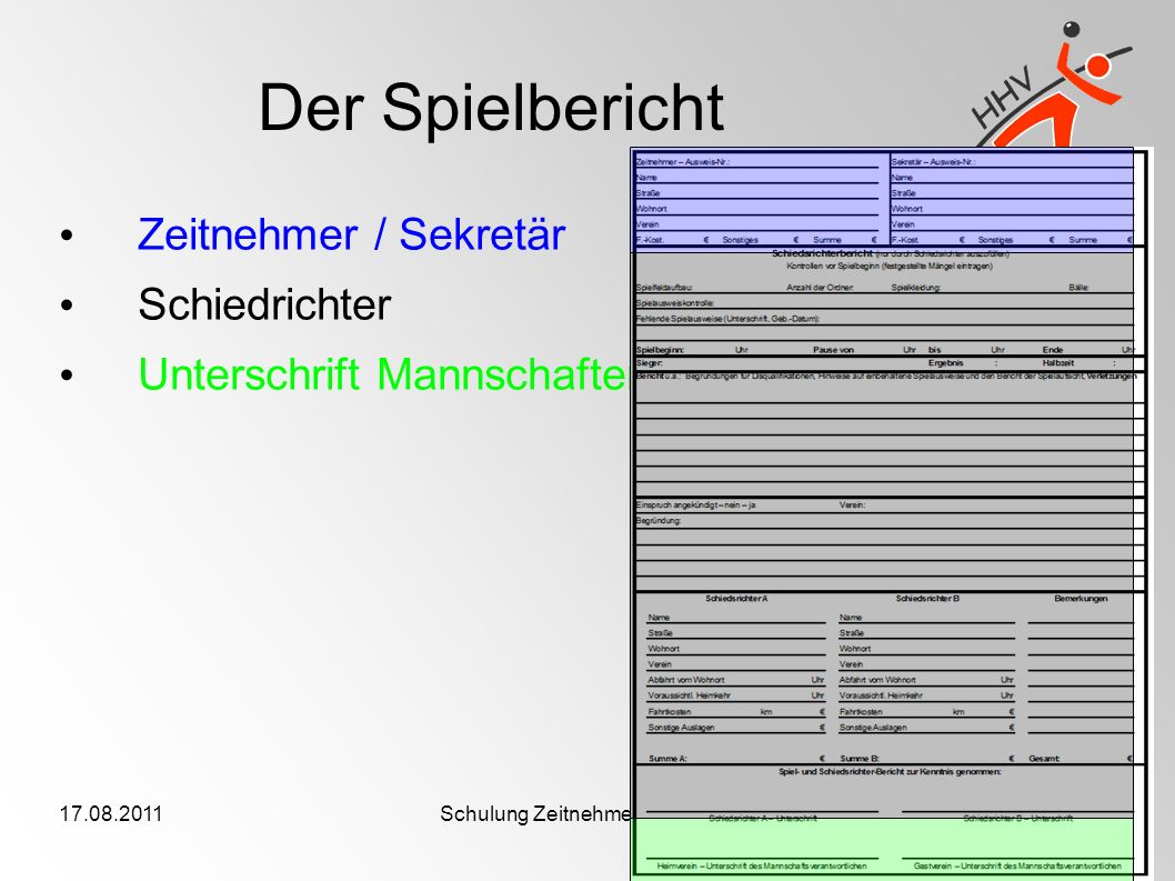 17.08.2011Schulung Zeitnehmer/Sekretäre Der Spielbericht Zeitnehmer / Sekretär Schiedrichter Unterschrift Mannschaften