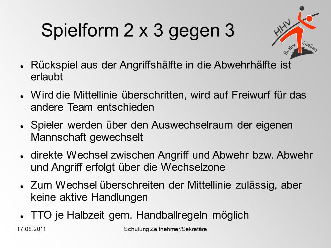 17.08.2011Schulung Zeitnehmer/Sekretäre Spielform 2 x 3 gegen 3 Rückspiel aus der Angriffshälfte in die Abwehrhälfte ist erlaubt Wird die Mittellinie