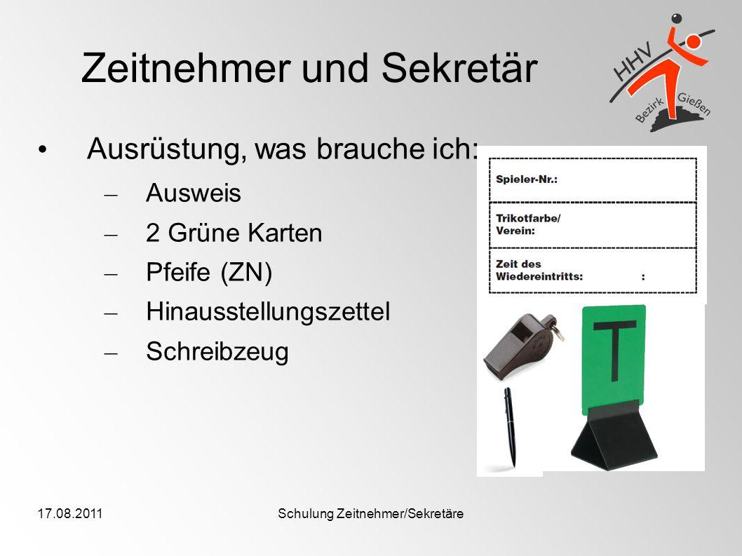 17.08.2011Schulung Zeitnehmer/Sekretäre Viel Spaß in der kommenden Runde als Zeitnehmer/Sekretär