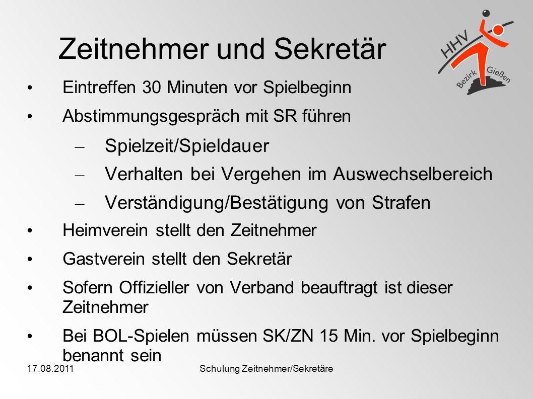 17.08.2011Schulung Zeitnehmer/Sekretäre Zeitnehmer und Sekretär Eintreffen 30 Minuten vor Spielbeginn Abstimmungsgespräch mit SR führen – Spielzeit/Sp