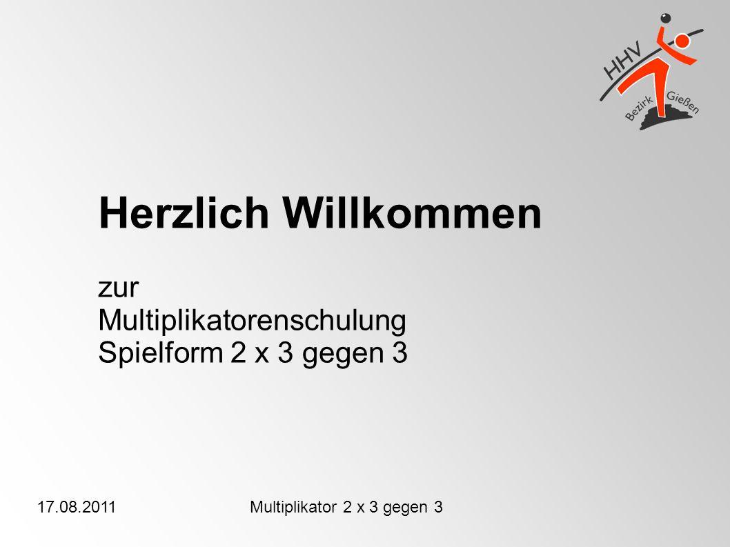 17.08.2011Multiplikator 2 x 3 gegen 3 Herzlich Willkommen zur Multiplikatorenschulung Spielform 2 x 3 gegen 3