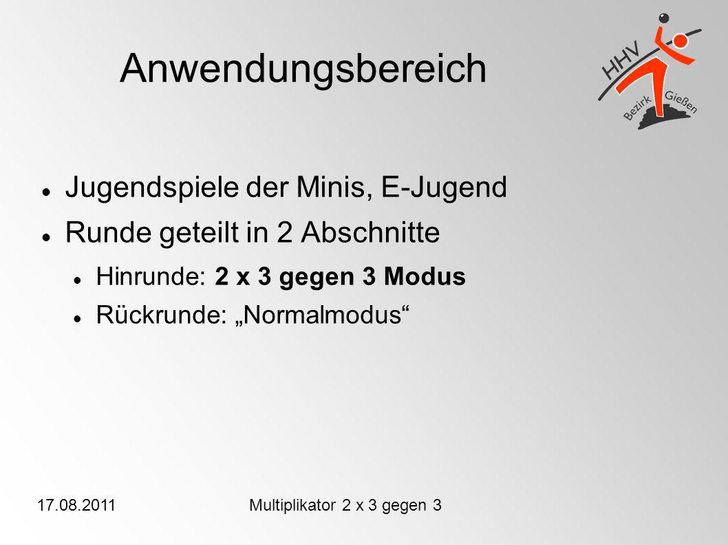 17.08.2011Multiplikator 2 x 3 gegen 3 Anwendungsbereich Jugendspiele der Minis, E-Jugend Runde geteilt in 2 Abschnitte Hinrunde: 2 x 3 gegen 3 Modus Rückrunde: Normalmodus