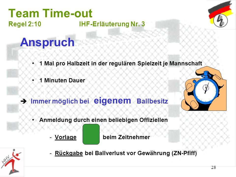 28 Team Time-out Regel 2:10IHF-Erläuterung Nr. 3 Anspruch 1 Mal pro Halbzeit in der regulären Spielzeit je Mannschaft 1 Minuten Dauer Immer möglich be