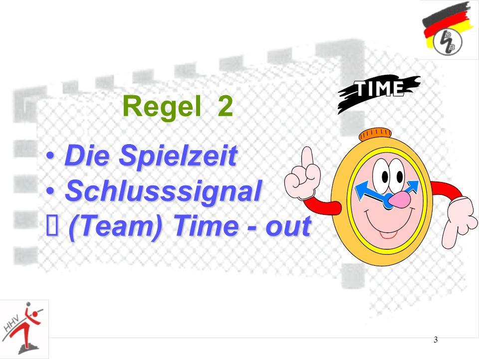 3 Regel 2 Die Spielzeit Die Spielzeit Schlusssignal Schlusssignal (Team) Time - out (Team) Time - out