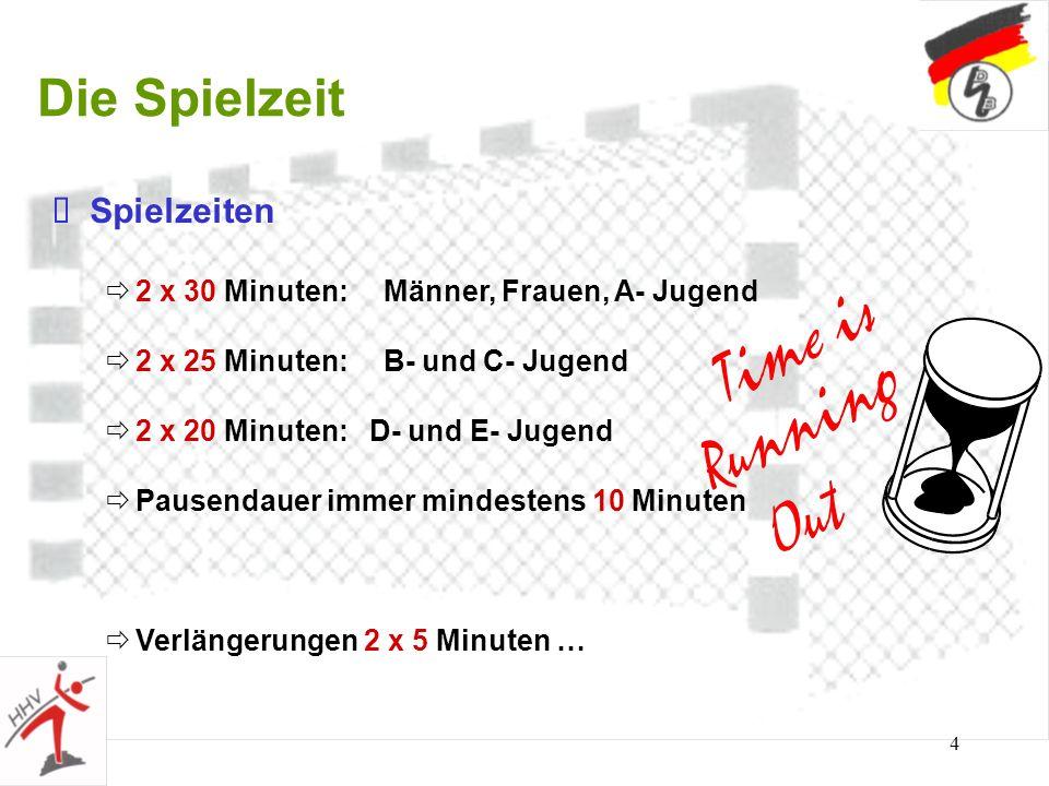 4 Die Spielzeit Spielzeiten 2 x 30 Minuten: Männer, Frauen, A- Jugend 2 x 25 Minuten: B- und C- Jugend 2 x 20 Minuten: D- und E- Jugend Pausendauer im