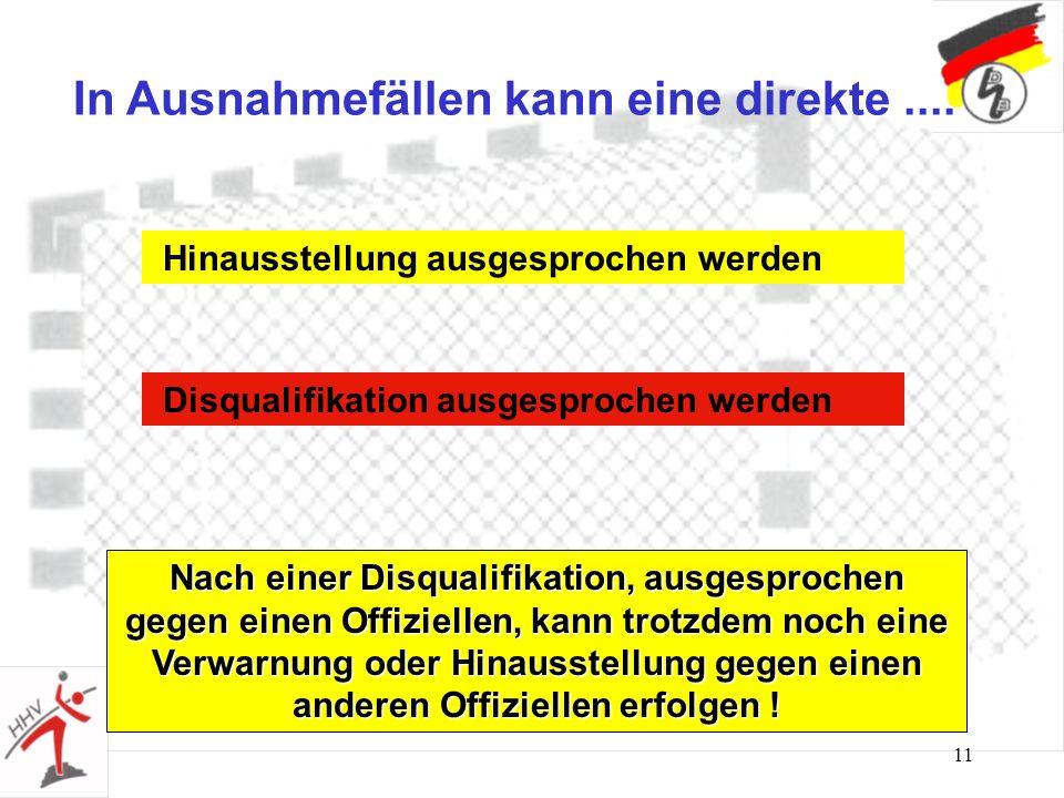 10 Bestrafungen sind progressiv aufgebaut AVerwarnung B1. Hinausstellung Ausnahmefälle..... C2. Hinausstellung D3. Hinausstellung = Disqualifikation