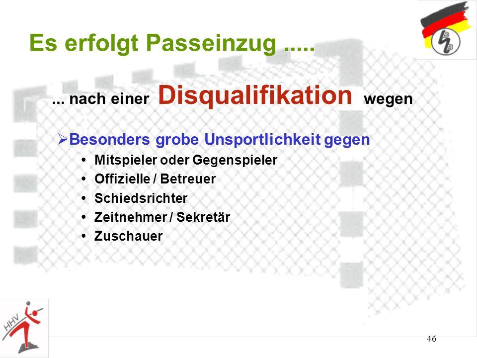 45 Es erfolgt Passeinzug..... Beleidigung / Bedrohung von Schiedsrichter Zeitnehmer / Sekretär Mit- und Gegenspieler Offizielle / Trainer / Betreuer Z