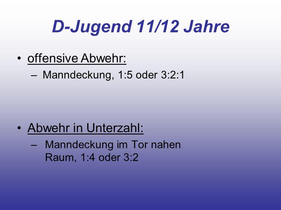 D-Jugend 11/12 Jahre offensive Abwehr: – Manndeckung, 1:5 oder 3:2:1 Abwehr in Unterzahl: – Manndeckung im Tor nahen Raum, 1:4 oder 3:2