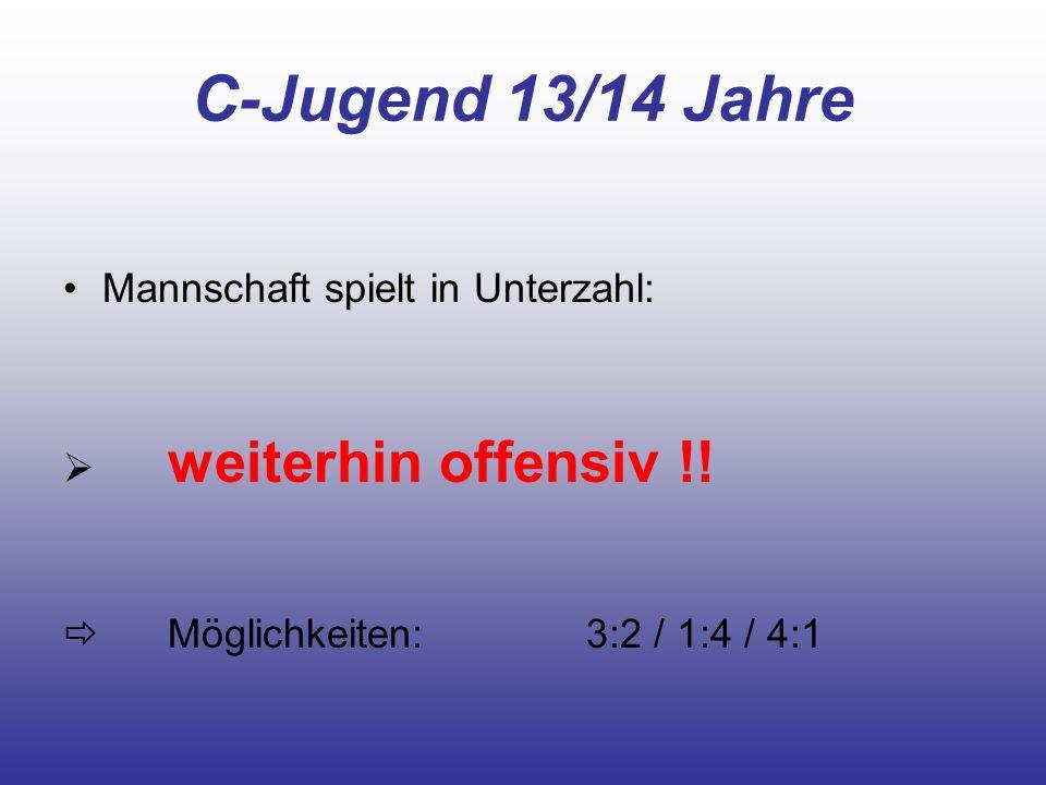 C-Jugend 13/14 Jahre Mannschaft spielt in Unterzahl: weiterhin offensiv !! Möglichkeiten:3:2 / 1:4 / 4:1