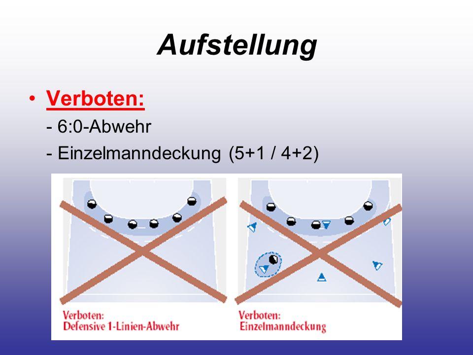 Aufstellung Verboten: - 6:0-Abwehr - Einzelmanndeckung (5+1 / 4+2)