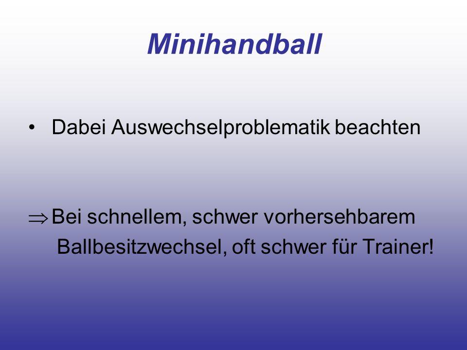 Minihandball Dabei Auswechselproblematik beachten Bei schnellem, schwer vorhersehbarem Ballbesitzwechsel, oft schwer für Trainer!