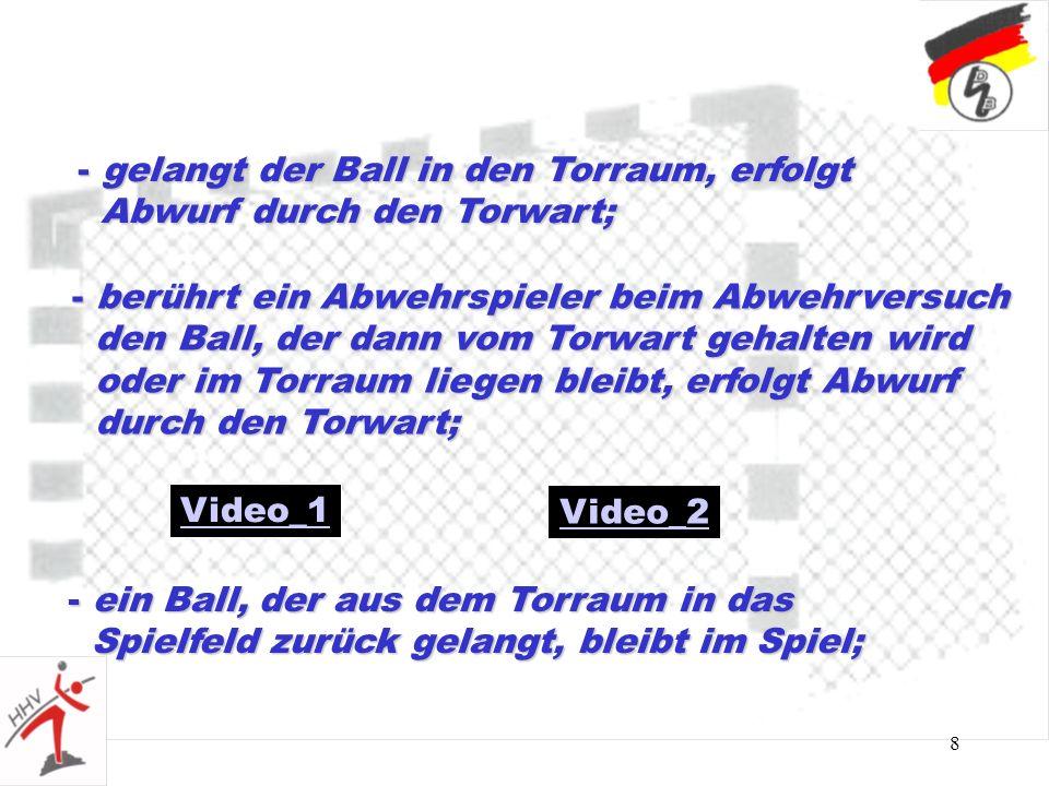 8 - berührt ein Abwehrspieler beim Abwehrversuch den Ball, der dann vom Torwart gehalten wird den Ball, der dann vom Torwart gehalten wird oder im Tor