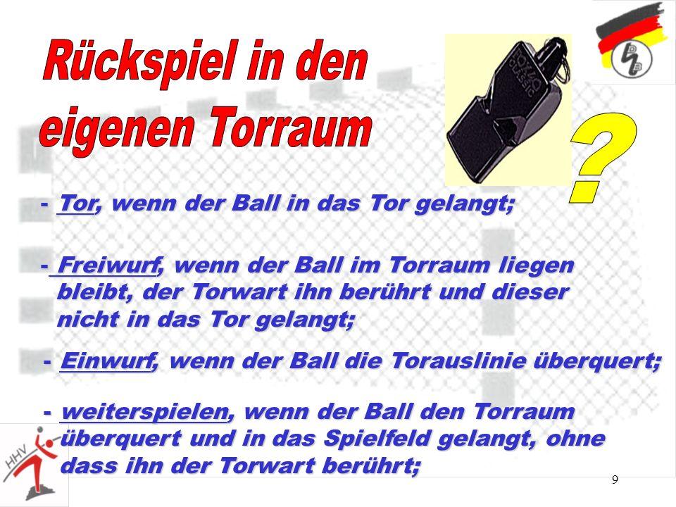 9 - Tor, wenn der Ball in das Tor gelangt; - Freiwurf, wenn der Ball im Torraum liegen bleibt, der Torwart ihn berührt und dieser bleibt, der Torwart