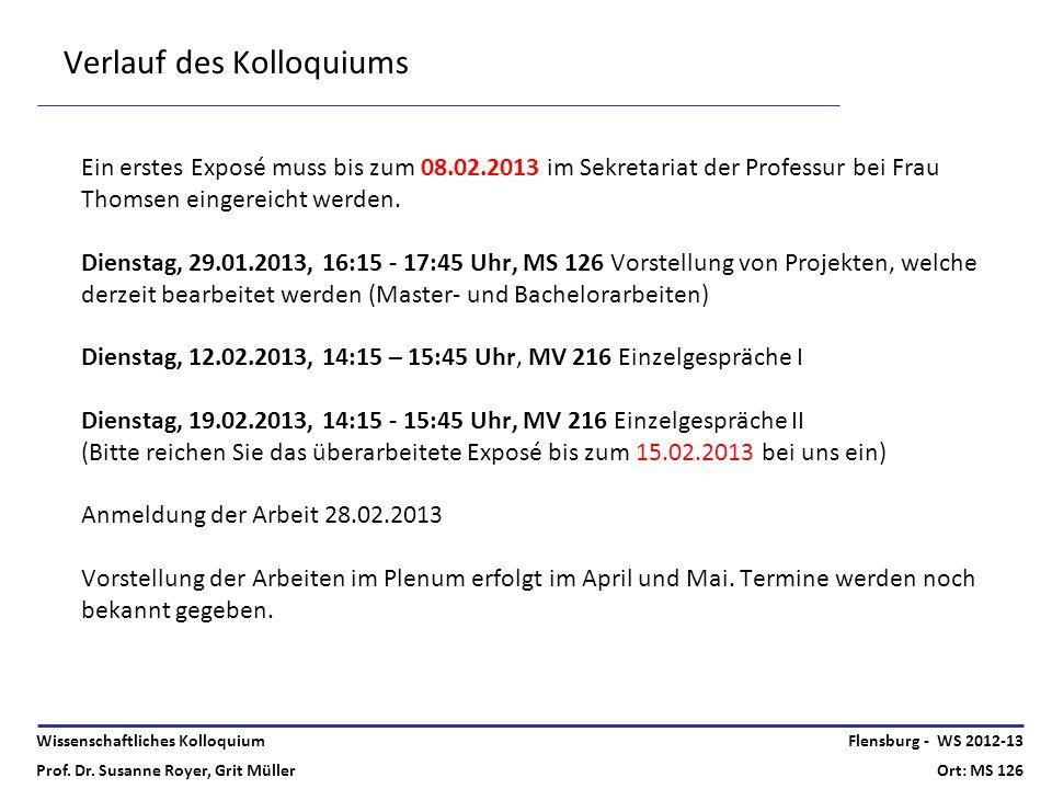 Wissenschaftliches Kolloquium Prof. Dr. Susanne Royer, Grit Müller Flensburg - WS 2012-13 Ort: MS 126 Verlauf des Kolloquiums Ein erstes Exposé muss b