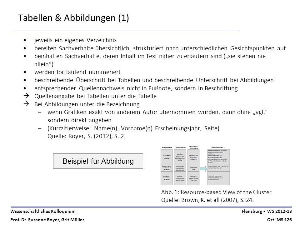 Wissenschaftliches Kolloquium Prof. Dr. Susanne Royer, Grit Müller Flensburg - WS 2012-13 Ort: MS 126 Tabellen & Abbildungen (1) jeweils ein eigenes V