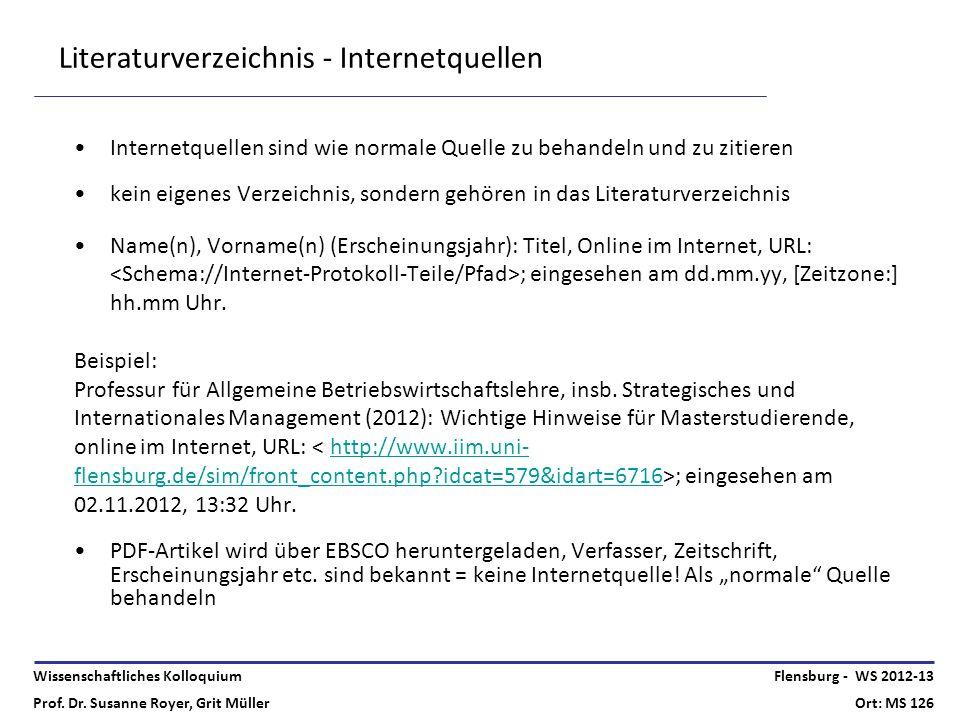 Wissenschaftliches Kolloquium Prof. Dr. Susanne Royer, Grit Müller Flensburg - WS 2012-13 Ort: MS 126 Literaturverzeichnis - Internetquellen Internetq