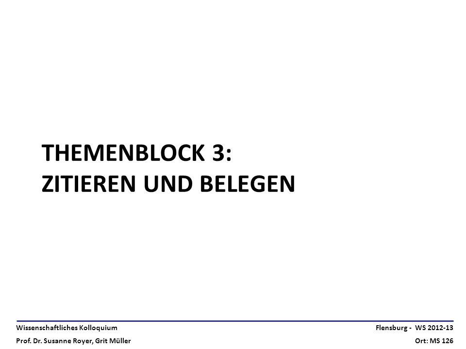 Wissenschaftliches Kolloquium Prof. Dr. Susanne Royer, Grit Müller Flensburg - WS 2012-13 Ort: MS 126 THEMENBLOCK 3: ZITIEREN UND BELEGEN
