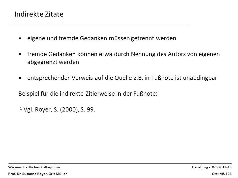 Wissenschaftliches Kolloquium Prof. Dr. Susanne Royer, Grit Müller Flensburg - WS 2012-13 Ort: MS 126 Indirekte Zitate eigene und fremde Gedanken müss