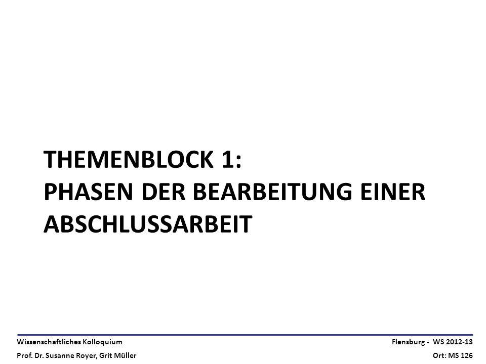 Wissenschaftliches Kolloquium Prof. Dr. Susanne Royer, Grit Müller Flensburg - WS 2012-13 Ort: MS 126 THEMENBLOCK 1: PHASEN DER BEARBEITUNG EINER ABSC