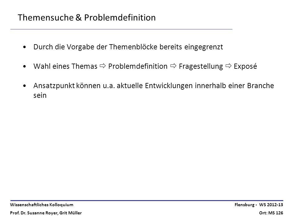 Wissenschaftliches Kolloquium Prof. Dr. Susanne Royer, Grit Müller Flensburg - WS 2012-13 Ort: MS 126 Themensuche & Problemdefinition Durch die Vorgab