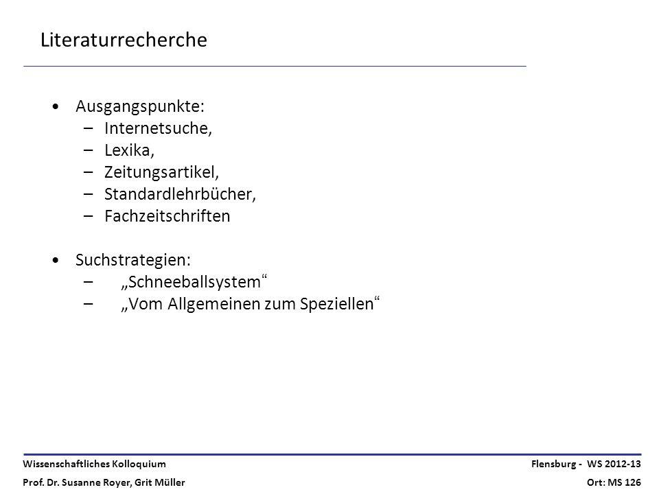 Wissenschaftliches Kolloquium Prof. Dr. Susanne Royer, Grit Müller Flensburg - WS 2012-13 Ort: MS 126 Literaturrecherche Ausgangspunkte: –Internetsuch