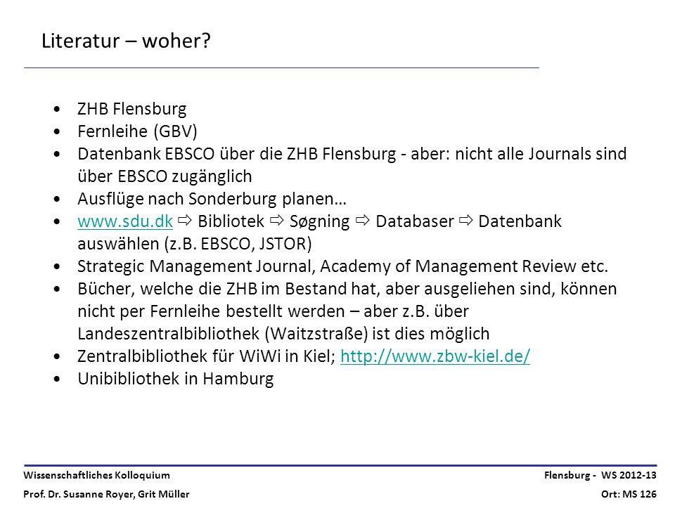 Wissenschaftliches Kolloquium Prof. Dr. Susanne Royer, Grit Müller Flensburg - WS 2012-13 Ort: MS 126 Literatur – woher? ZHB Flensburg Fernleihe (GBV)
