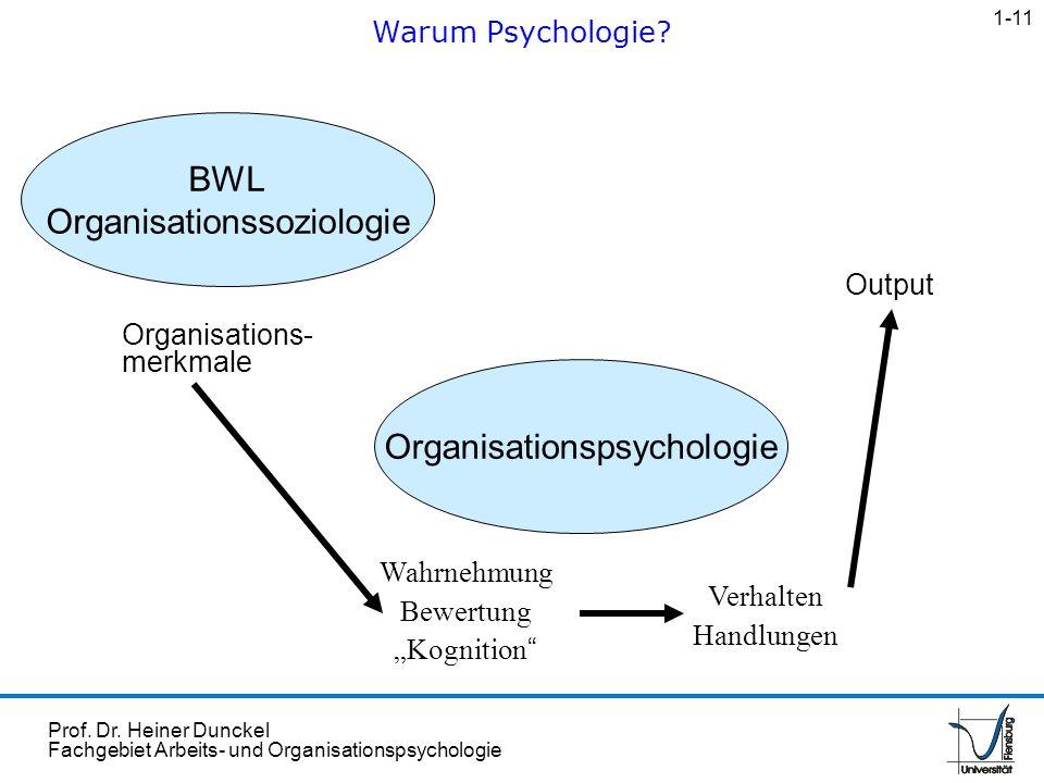 Prof. Dr. Heiner Dunckel Fachgebiet Arbeits- und Organisationspsychologie Organisations- merkmale Wahrnehmung Bewertung Kognition BWL Organisationssoz