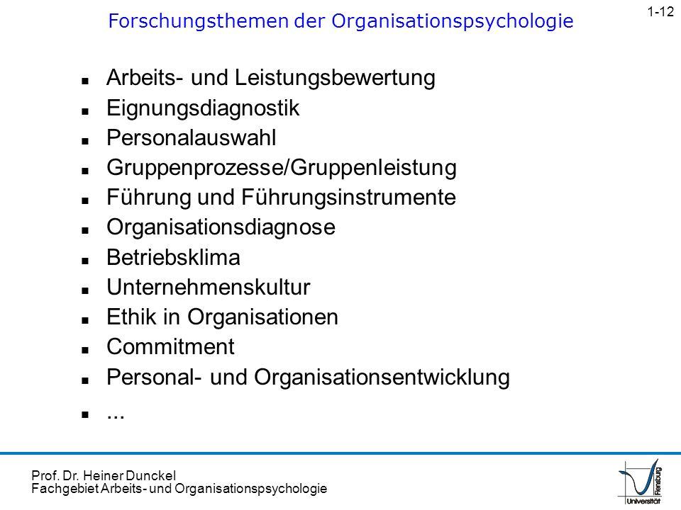 Prof. Dr. Heiner Dunckel Fachgebiet Arbeits- und Organisationspsychologie n Arbeits- und Leistungsbewertung n Eignungsdiagnostik n Personalauswahl n G