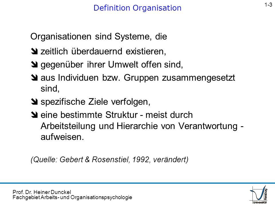 Prof. Dr. Heiner Dunckel Fachgebiet Arbeits- und Organisationspsychologie Organisationen sind Systeme, die îzeitlich überdauernd existieren, îgegenübe