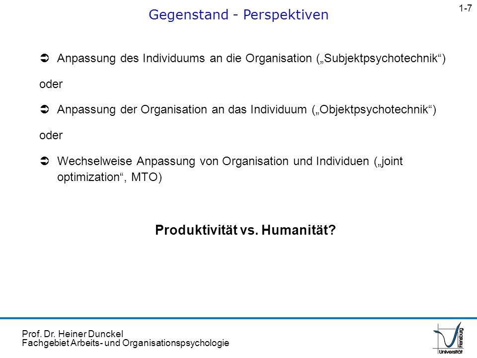 Prof. Dr. Heiner Dunckel Fachgebiet Arbeits- und Organisationspsychologie Anpassung des Individuums an die Organisation (Subjektpsychotechnik) oder An