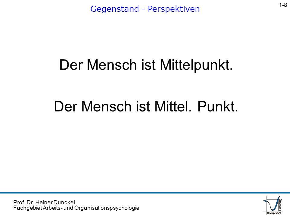 Prof. Dr. Heiner Dunckel Fachgebiet Arbeits- und Organisationspsychologie Der Mensch ist Mittelpunkt. Der Mensch ist Mittel. Punkt. Gegenstand - Persp