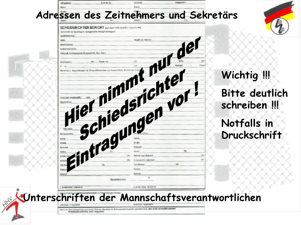 Adressen des Zeitnehmers und Sekretärs Unterschriften der Mannschaftsverantwortlichen Wichtig !!! Bitte deutlich schreiben !!! Notfalls in Druckschrif