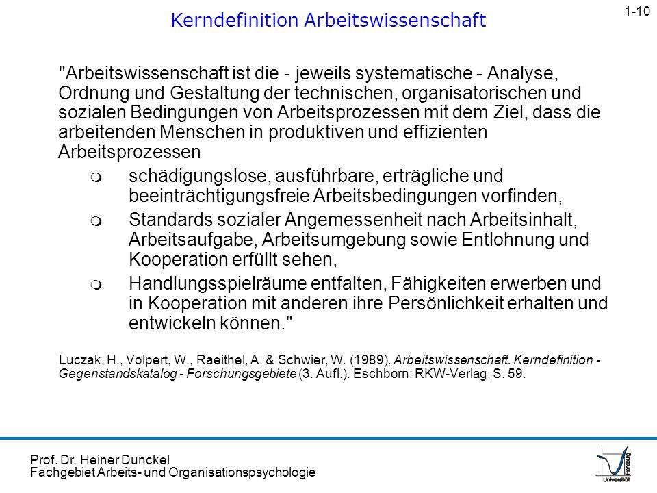 Prof. Dr. Heiner Dunckel Fachgebiet Arbeits- und Organisationspsychologie
