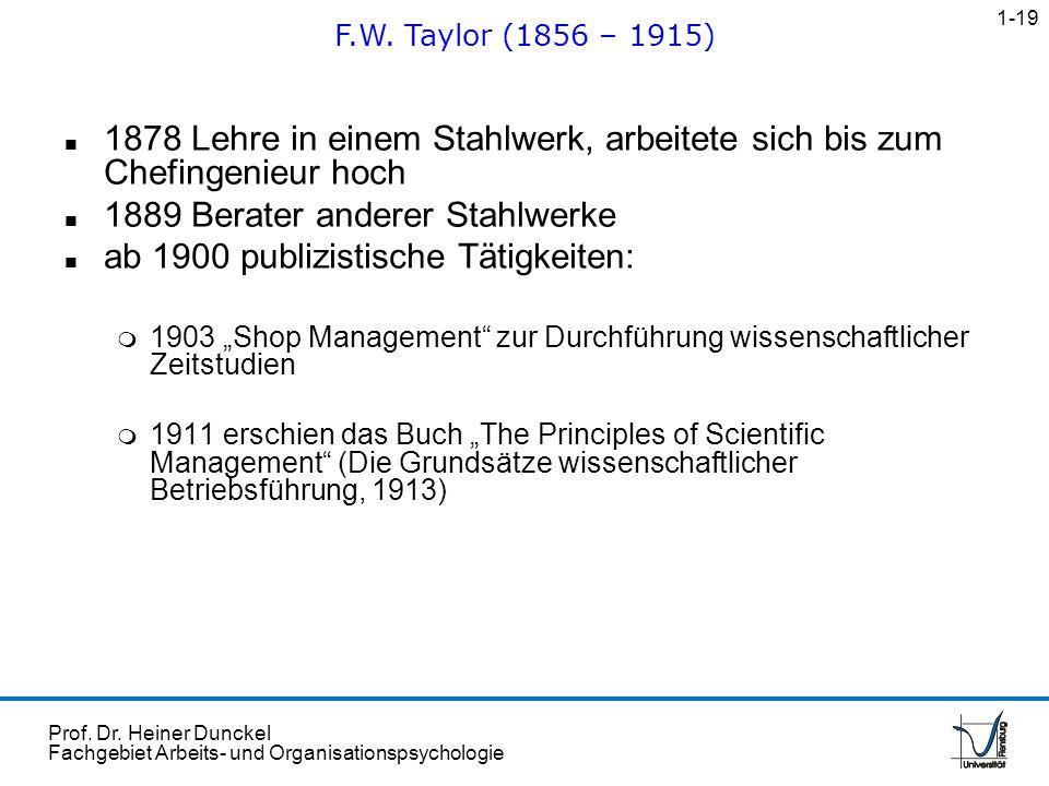 Prof. Dr. Heiner Dunckel Fachgebiet Arbeits- und Organisationspsychologie n 1878 Lehre in einem Stahlwerk, arbeitete sich bis zum Chefingenieur hoch n