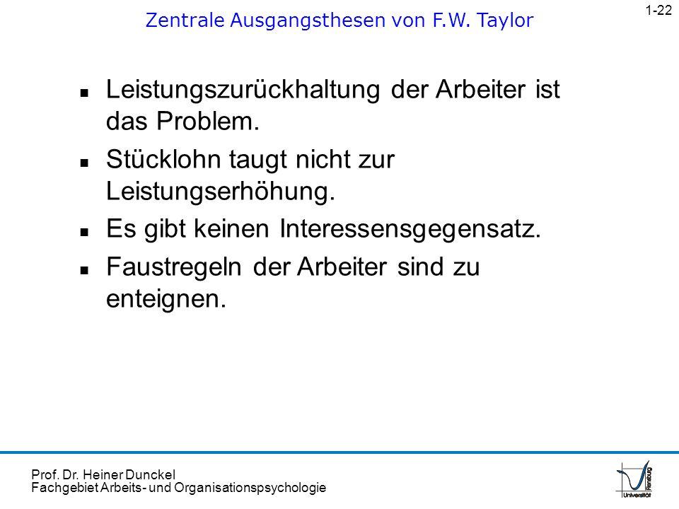 Prof. Dr. Heiner Dunckel Fachgebiet Arbeits- und Organisationspsychologie n Leistungszurückhaltung der Arbeiter ist das Problem. n Stücklohn taugt nic