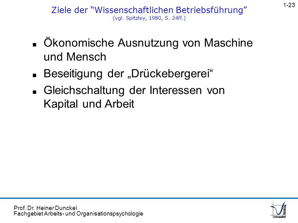 Prof. Dr. Heiner Dunckel Fachgebiet Arbeits- und Organisationspsychologie n Ökonomische Ausnutzung von Maschine und Mensch n Beseitigung der Drückeber