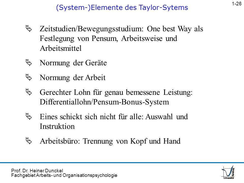 Prof. Dr. Heiner Dunckel Fachgebiet Arbeits- und Organisationspsychologie Zeitstudien/Bewegungsstudium: One best Way als Festlegung von Pensum, Arbeit