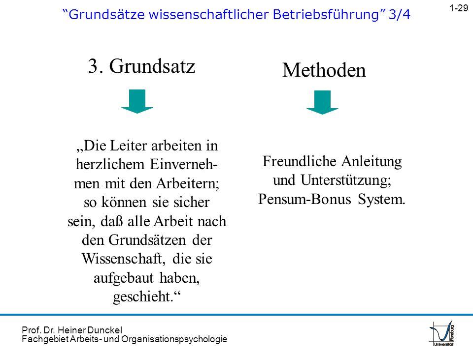 Prof. Dr. Heiner Dunckel Fachgebiet Arbeits- und Organisationspsychologie 3. Grundsatz Methoden Die Leiter arbeiten in herzlichem Einverneh- men mit d