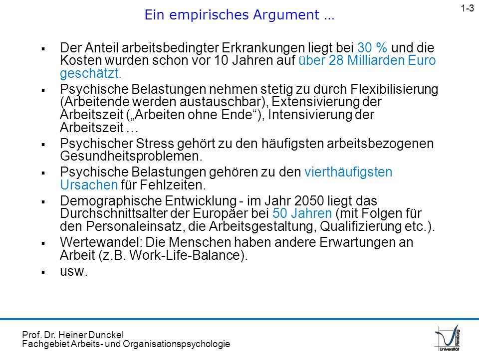 Prof. Dr. Heiner Dunckel Fachgebiet Arbeits- und Organisationspsychologie Der Anteil arbeitsbedingter Erkrankungen liegt bei 30 % und die Kosten wurde