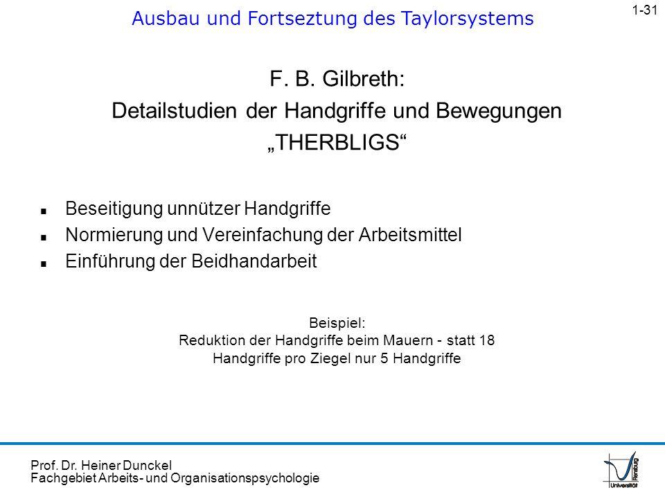 Prof. Dr. Heiner Dunckel Fachgebiet Arbeits- und Organisationspsychologie F. B. Gilbreth: Detailstudien der Handgriffe und Bewegungen THERBLIGS n Bese