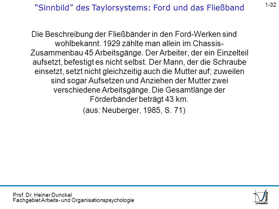 Prof. Dr. Heiner Dunckel Fachgebiet Arbeits- und Organisationspsychologie Die Beschreibung der Fließbänder in den Ford-Werken sind wohlbekannt. 1929 z
